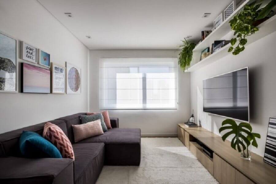 Vasos com plantas para decoração de sala simples com sofá cinza confortável Foto SP Estúdio