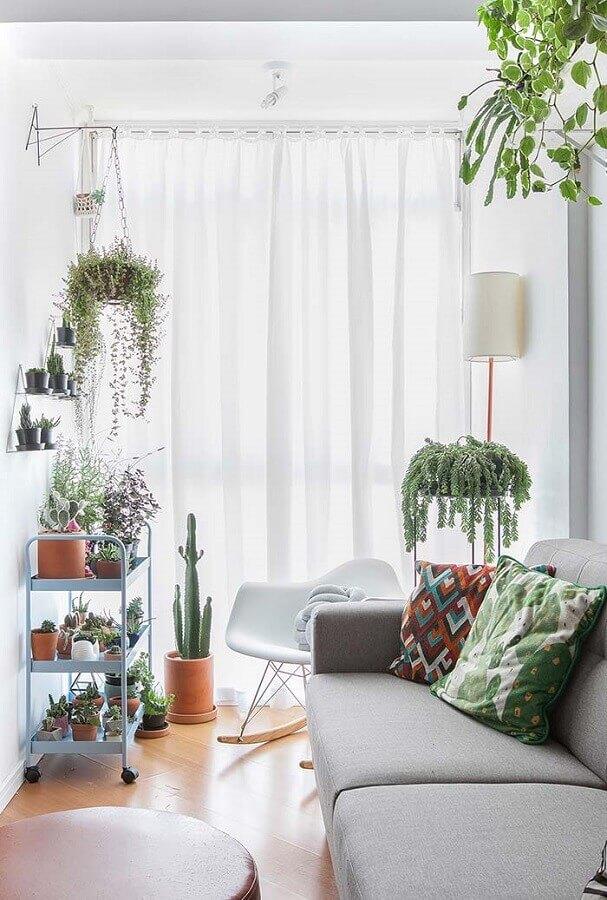 Vasos com plantas para decoração de sala simples em cores claras Foto Gisele Rampazzo