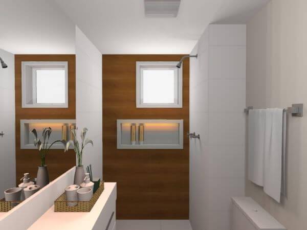Banheiro pequeno com nicho de porcelanato branco