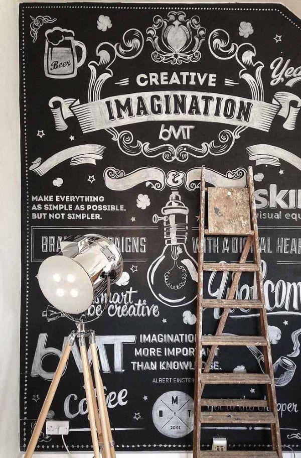 Decoração com lettering na parede de tinta lousa