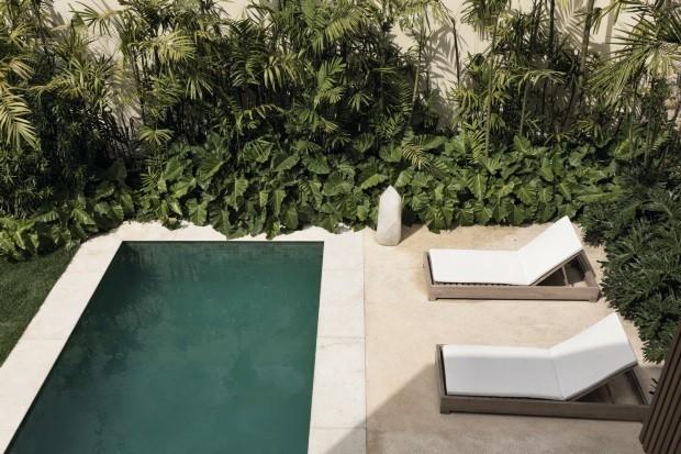 Decoração de quintal com piscina pequena
