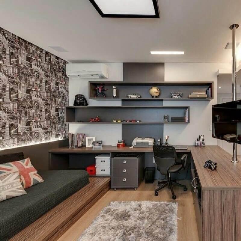 Decoração jovem com gaveteiro para quarto com home office Foto Decor Fácil