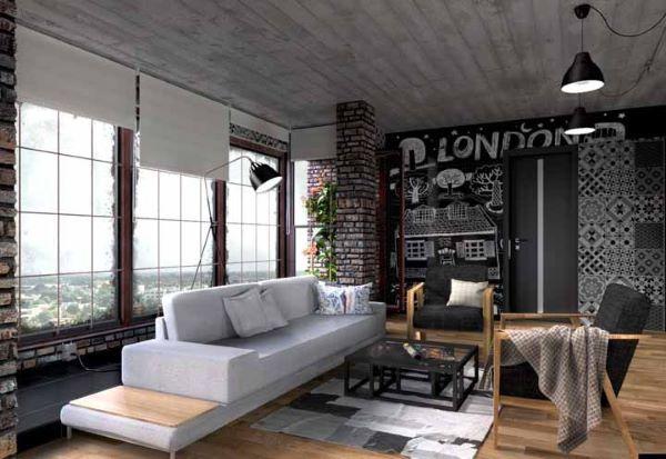 Sala de estar com tinta lousa na parede e lettering